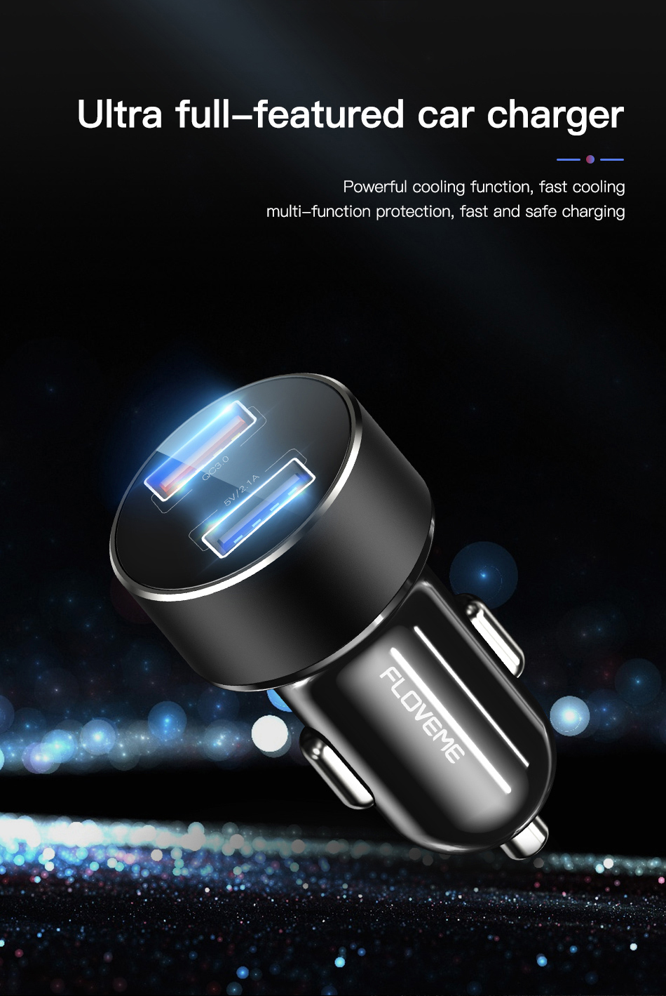 FLOVEME Quick Charge 3.0 Fast USB Car Phone Charger Cigarette Lighter Cellphone Car Charger QC 3.0 Carregador For iPhone Xiaomi