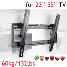 """PTB-6044T 2"""" 30"""" 4"""" 55"""" настенный кронштейн для телевизора 5"""" металл 60 кг vesa 400x400 панель ЖК-телевизор настенное крепление наклон вверх вниз 15 Встроенный пузырь"""