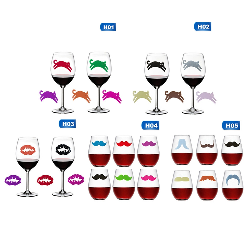 6pcs Silicone Mouth & Moustache & Cat Shape Wine Glass Marker Creative Drinking Cup Identifier Party Cup Sign (6 Colors)