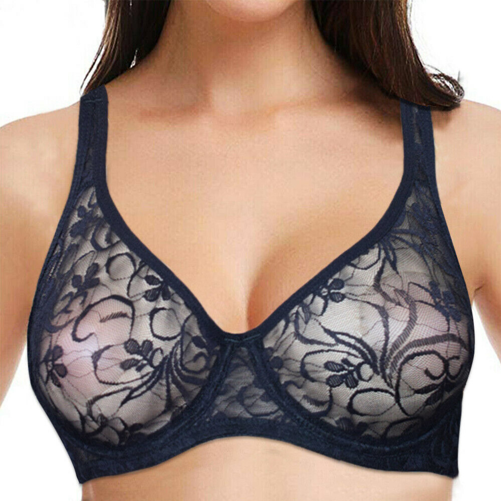 Womens Lingerie Lace Sheer Bralette Underwired Push Up Bra Underwear A B C D Cup