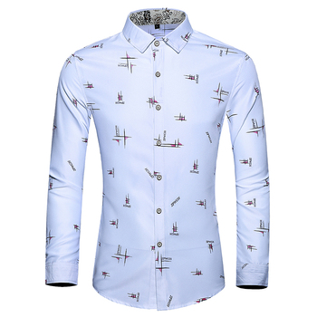 good quality fashion print men dress shirts slim fit 2019 new brand cotton shirt long sleeve plus size 7XL markyi 2019 brand new floral print casual shirts for men good quality 3d compression long sleeve shirt men
