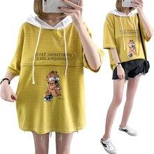 Breastfeeding-Clothes Shirt Hooded-Nursing Open-Lactation Yellow Print Zipper Cartoon