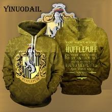 Wizardry Hufflepuff 3D Printed Hoodie with Pocket Hogwarts Gryffindor Unisex Sweatshirt Costume Hoodies Men Clothes
