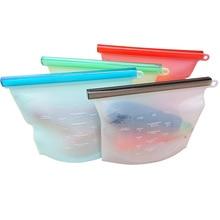 Reusable Silicone Food Fresh-Keeping Storage Bag Food Frozens Storage Ziplock Bag 8 Pieces Cooking Bag Vacuum Sealed Bag недорого