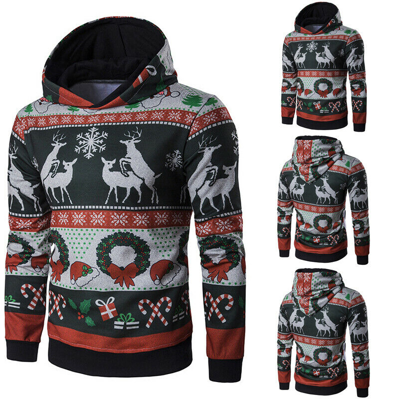2019 New Christmas Unisex Long Sleeve Animals Print Hooded Women Men Xmas Hoodie Sweatshirt Fashion New Year's Clothes