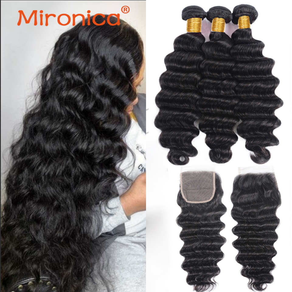 Mironica Hair 4X4 5X5 6x6 13X4 Loose Deep Wave Bundles With Lace Closures 8-40 Inch Brazilian Lace Closure For Black Women