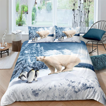 3D Drop ship  Realistic Animal Series  Bedding Set  Soft High Quality Tiger Bear Penguin Duvet Cover Set Queen/Twin/King Size