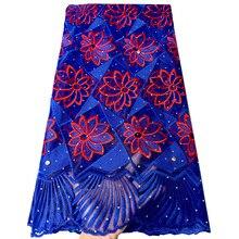 אפריקה צרפתית תחרה בדים באיכות גבוהה טול ניגרי שרוכי בד מלכותי כחול תחרה רקום Mesh המפלגה שמלה