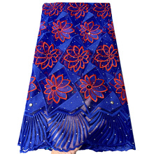 African French Lace Fabrics High Quality Tulle Nigerian Laces Fabric Royal Blue Lace Embroidered Mesh Fabric For Party Dress