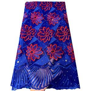 Image 1 - แอฟริกันภาษาฝรั่งเศสคำลูกไม้ผ้า Tulle คุณภาพสูงไนจีเรีย Laces ผ้า ROYAL BLUE ลูกไม้ปักผ้าตาข่ายสำหรับชุดปาร์ตี้