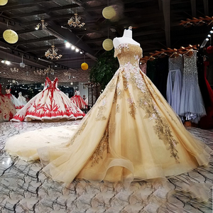 Image 3 - Robe de soirée dorée en organza, robe de fête, épaules dénudées, dos, couleur, modèle LS63454 1, chine, vente en ligne, à lacets