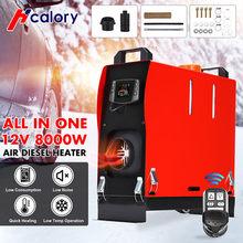 Calefator do carro de hcalory tudo em um diesels do ar 8kw 12v aquecedor de estacionamento 1/4 furos calefator de carro para caminhões motor-casas barcos ônibus lcd interruptor