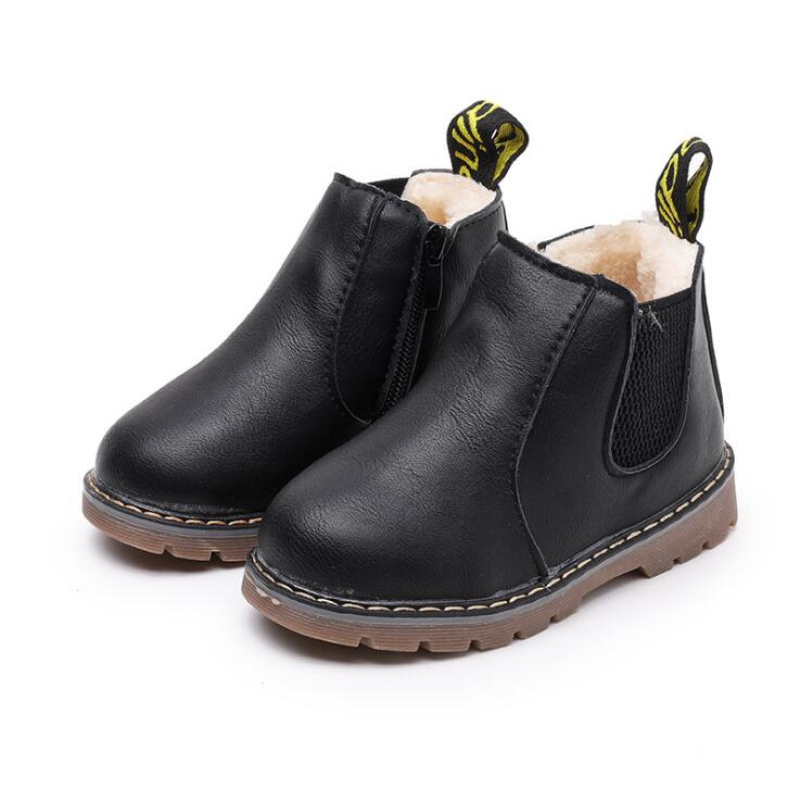 Kids Rubber Boots Leather Waterproof Children Sneakers Black Boots For Baby Girl Chelsea Boots Boy Shoes New 2021