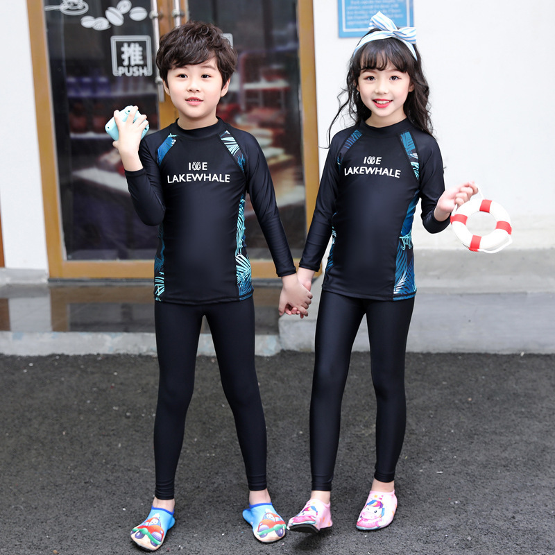 New Style Korean-style Split Type Big Boy Long Sleeve Men And Women CHILDREN'S Swimwear Teenager Sun-resistant Children Diving S