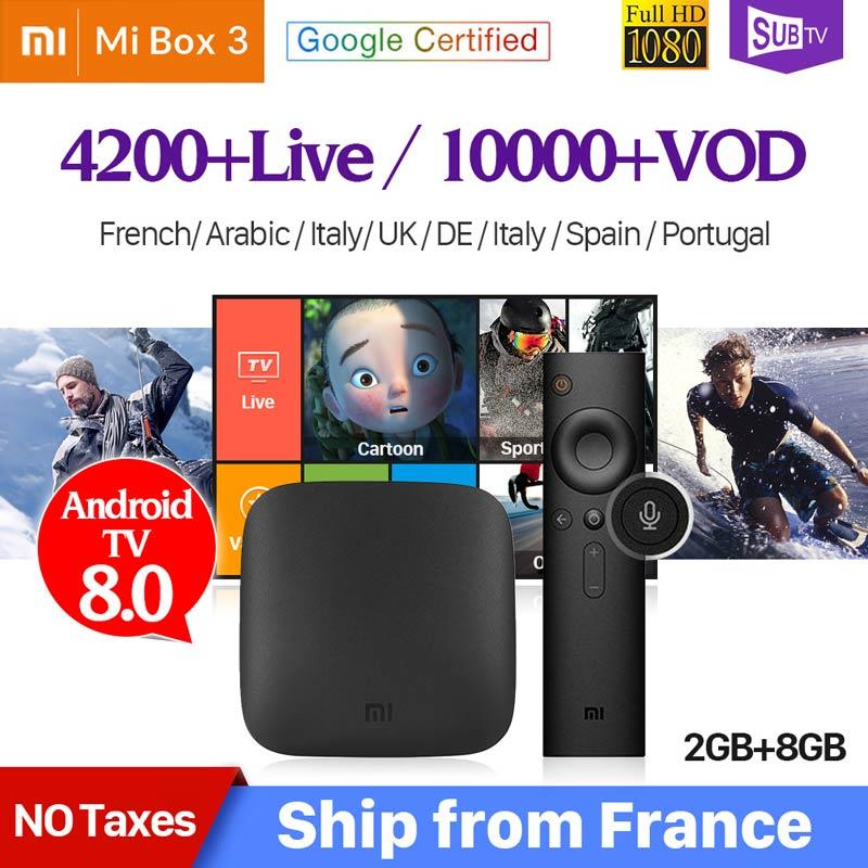Arábica IPTV France SUBTV Xiao mi mi 3 Caixa de TV Android 8.0G + 8 2G Apoio BT Dupla -Band WIFI Google Certified Xiao mi mi Caixa de IPTV 3
