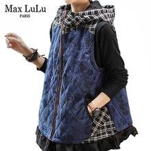Max lulu 2020 luxo coreano senhoras veludo roupas de inverno das mulheres com capuz floral colete acolchoado casaco sem mangas plus size