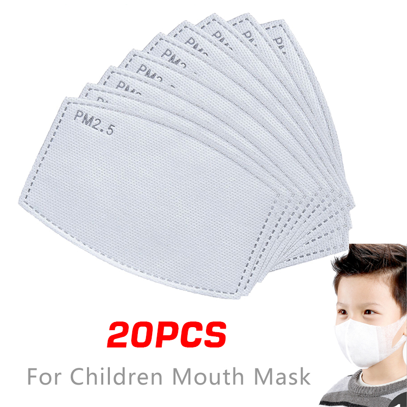 20pcs/Lot PM2.5 Filter Paper Anti Haze Mouth Mask Girl Boy Anti Dust Mask Filter Paper Health Care Child