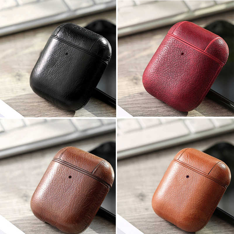 Genuine Leather Hook Case For AirPods Matte Skin For Apple Airpods Luxury Protective Storage Bag Black Brown Protect Cover