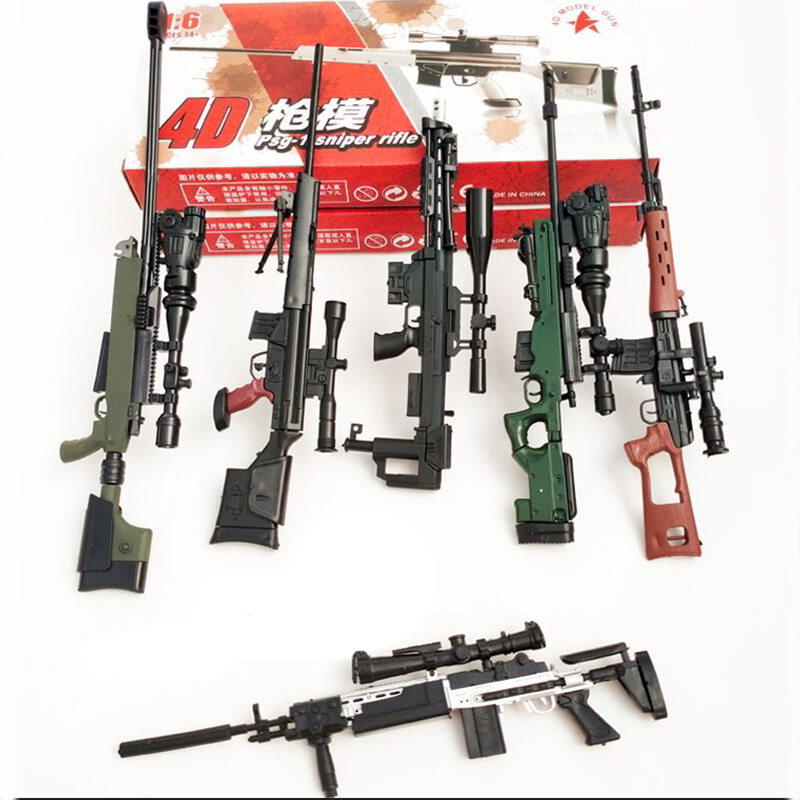 6Pcs/set Coated Gun Model Sniper Rifle SVD,PSG-1,MK14,DSR-1,TAC-50 1:6 Assembly Kits Weapon For 12