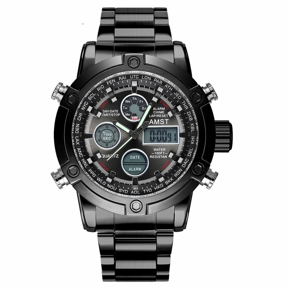 AMST Brand Men Stainless Steel Strap Sport Quartz Watch Led Digital 50M Waterproof Dual Display Army Military Wristwatches