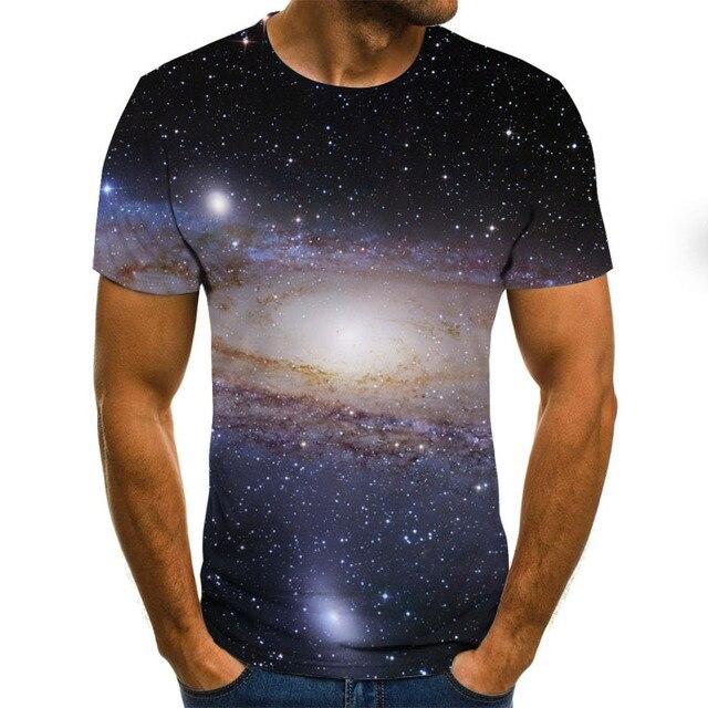 Фото новинка 2020 футболка с 3d принтом звездного неба мужская летняя