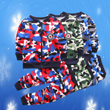 Boys Girls Clothes Winter Plus Velvet Warm Two-piece Camouflage Long-sleeved Jacket Pants 1-5 Y Child Quality Clothing Hot Sale