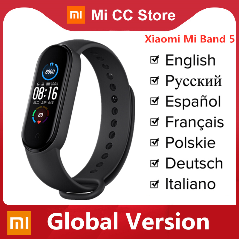 Global Version Xiaomi Mi Band 5 Bracelet Heart Rate Fitness Tracker Wristband 4 Color Strap 1 1 Inch AMOLED Screen Miband 5