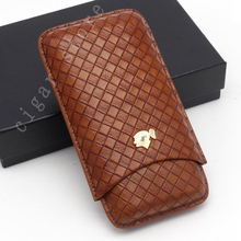 COHIBA Woven Pattern Cigar Humidor Case 3 Tube Box Leather Portable Accessories with Gift