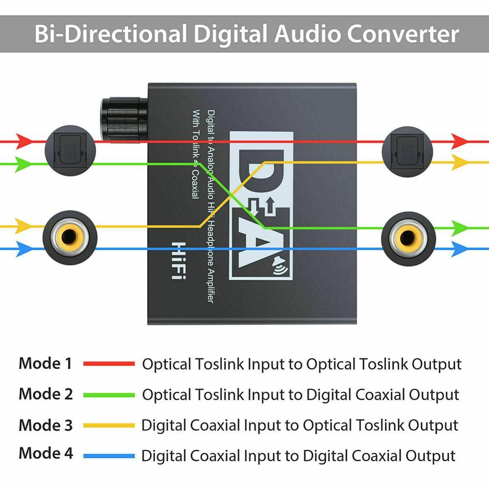 Hifi DAC Amp Digital To Analog Audio Converter RCA 3.5mm Headphone Amplifier Toslink Optical Coaxial Output Portable dac 24bit
