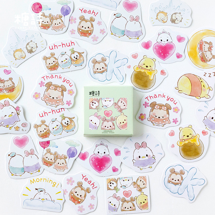 Mohamm 45 Pcs/pack Cute Animal Mouse Winnie Bear Paper Sticker Flakes Stationary Sticker Office Accessories
