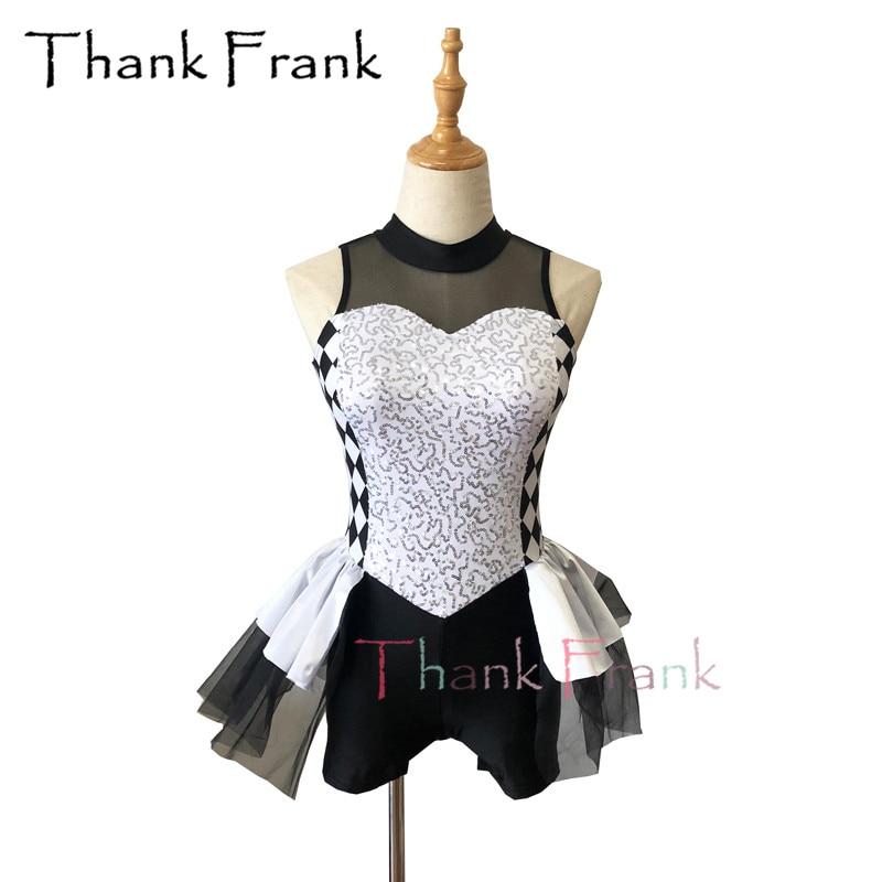 Sequin Girls Jazz Tap Costume Women Black And White Modern Dance Costumes Kids Sleeveless Short Unitard Dress For Dancing C618