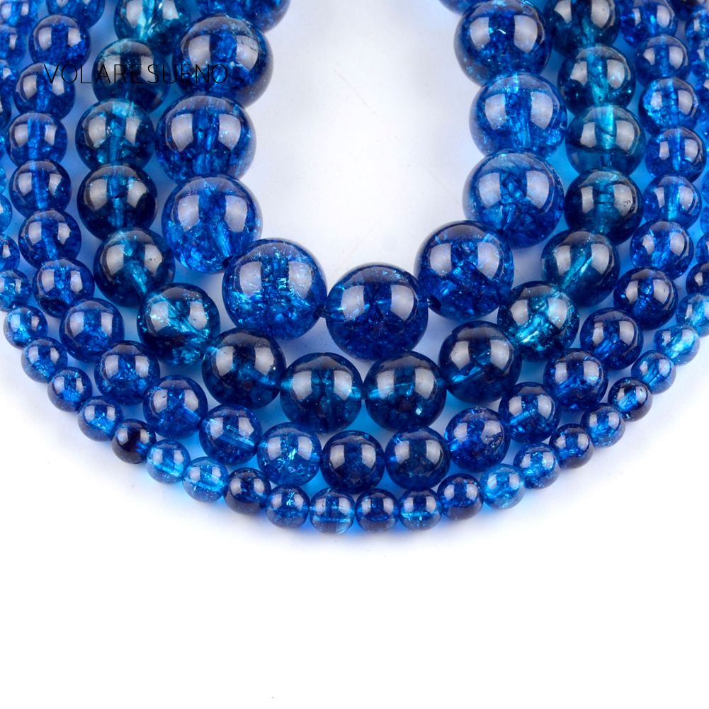 Natural Blue Cracked Crystal Stone Round Loose Beads For Jewelry Making 6 10mm Spacer Beads Fit Diy Bracelet Necklace Accessory in Beads from Jewelry Accessories