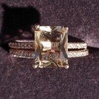 Conjunto de anillos de boda para mujer, sortija de compromiso, Color oro rosa, regalo de Navidad, joyería única, superventas, R5026