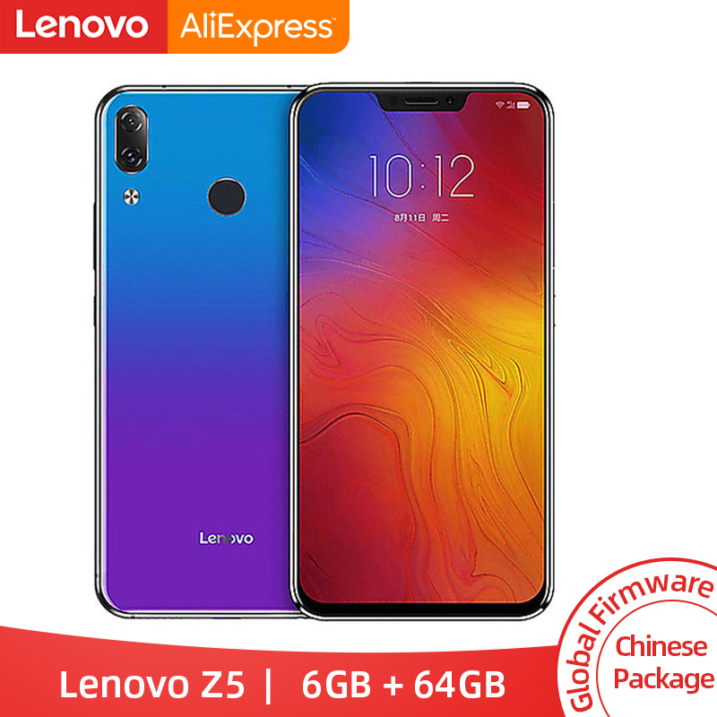 Global Rom Lenovo Z5 6GB 64GB Snapdragon 636 Octa Core Mobile Phone 19:9 Screen 6.2'' Android 8.1 16MP 8MP Dual Rear Cam