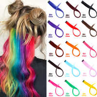 JINKAILI Long Straight Clip In One Piece Hair Extensions Hair Piece Highlight Rainbow Hair Streak Pink Synthetic Strands