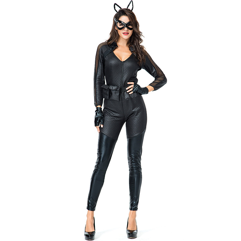 <font><b>Sexy</b></font> <font><b>Catwoman</b></font> Superhero <font><b>Costume</b></font> Adults cosplay Black PU Leather Bodysuit Stretchable Zipper Jumpsuit With Mask image