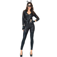 Sexy Catwoman Superhero Costume Adults cosplay Black PU Leather Bodysuit Stretchable Zipper Jumpsuit With Mask