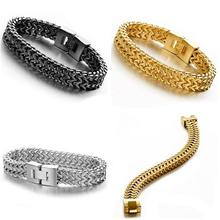 Fashion Jewelry Titanium Stainless steel Classic Biker Black Silver Gold Mens Womens 8.66 12mm Wide Curb Chain Bracelet/Bang