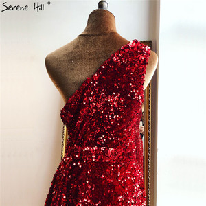 Image 5 - Red One Shoulder Sexy Mermaid Evening Dresses 2020  Beading Sequins Luxury Formal Dress Serene Hill DLA70297