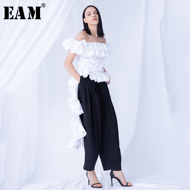 [EAM] Women White Ruffles Back Long Blouse New Slash Neck Long Sleeve Loose Fit Shirt Fashion Tide Spring Summer 2020 WG8620