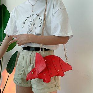 Image 3 - נשים אופנה דינוזאור צורת עור מפוצל מסמרת שרשרת Crossbody כתף תיק ילדה שליח שקיות מיני מצמד ארנק