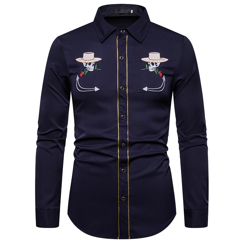 UNPADUPE 2019 Men Shirts Fashion Skull Embroidery Shirt Slim Fit Casual Long Sleeve Button Down Western Cowboy Shirt EU Size XXL