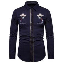 UNPADUPE 2019 Men Shirts Fashion Skull Embroidery Shirt Slim Fit Casual Long Sleeve Button Down Western Cowboy EU Size XXL