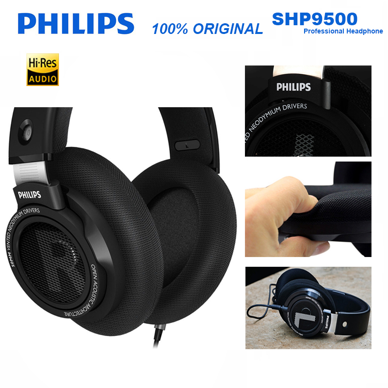 Original Philips SHP9500 HIFI Headphone Wired Detachable 3m cable headset for Huawei Xiaomi Samsung laptop Support Official Test image