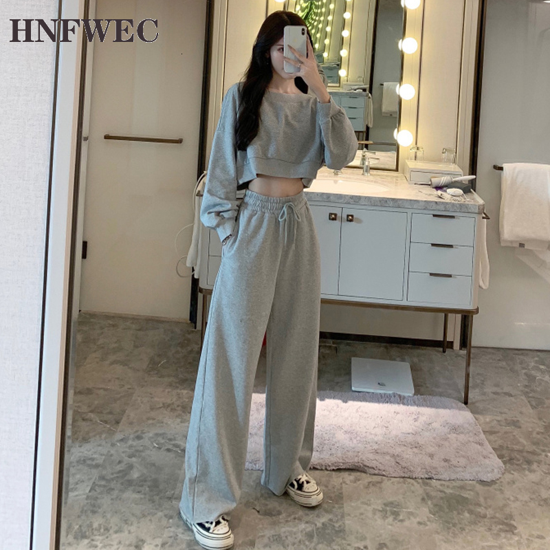 2020 Autumn New Fashion Casual Women's Sets Solid Color Hoody Wild Cotton Sweatshirts Women Wide Leg Pants Two-pieces F771