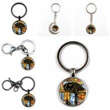 New Retro Black Cat Bookcase Crystal Pendant Keychain Fashion Men Women Keyring Quality Car Charm Package Glass Key Chain Gift