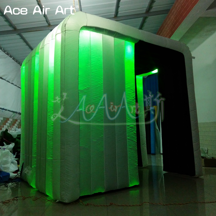 2.4x2.1x2.2 durable brighter Inflatable Photo Booth <font><b>Cube</b></font>,photo Cabinet with Colorful <font><b>Led</b></font> spotlights for France Made In China image
