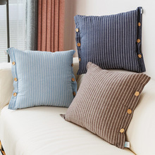 Modern Nordic Simple Pillow Cover Fashion Stripe Button Cotton Throw Cushion Home Soft Sofa Bedroom Decoration