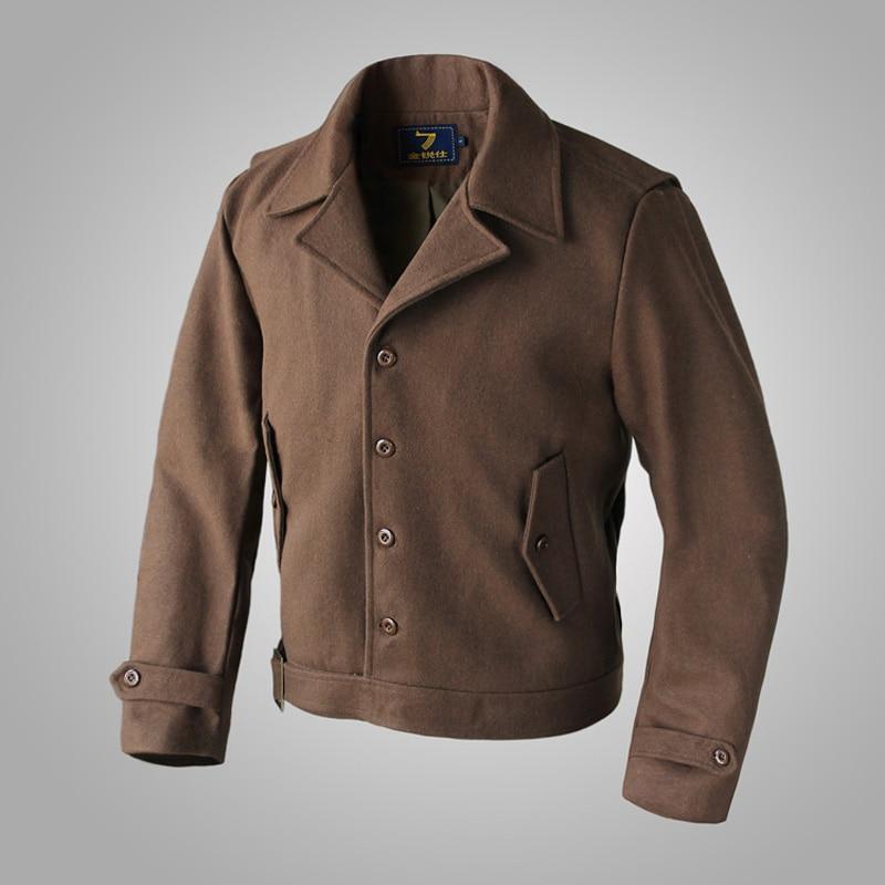 Inglourious Basterds Aldo Raine Wool Jacket Men Spring US Army Short Coat Brown