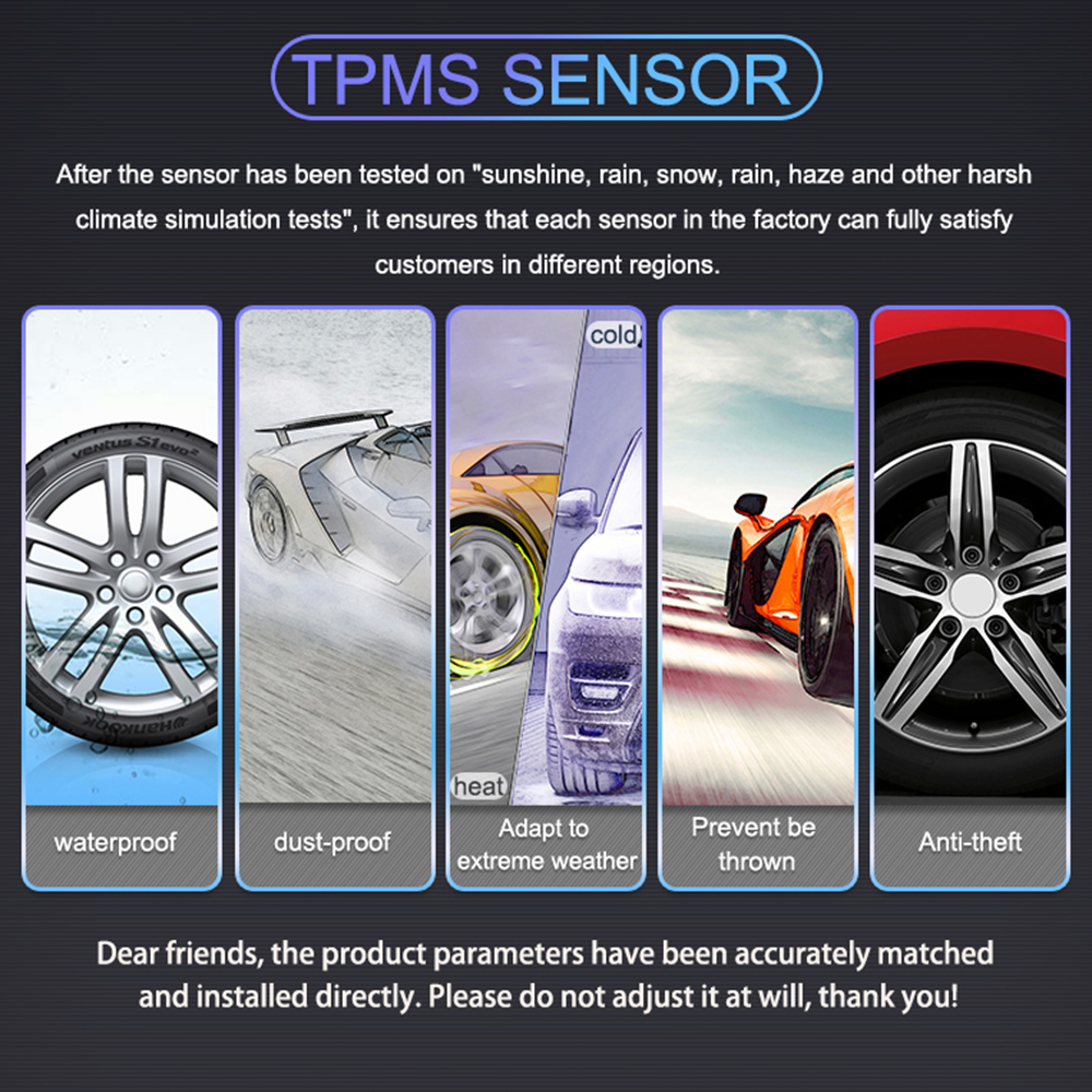 U912 TPMS Wireless Auto Car Tire Pressure Monitoring System with 4 External Sensors LCD Embedded Monitor 5 in Tire Pressure Alarm from Automobiles Motorcycles